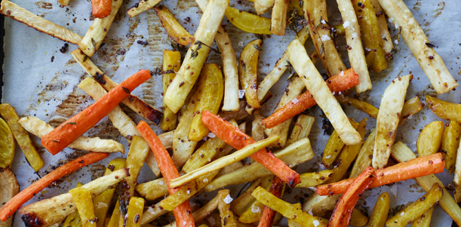 Maple-Balsamic Root Vegetable Fries