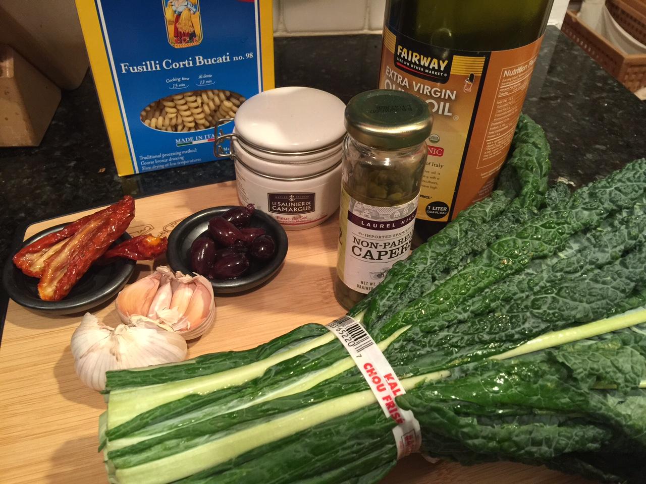 Mise en place Kale pasta