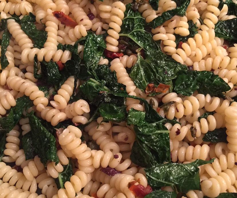 kale pasta closeup