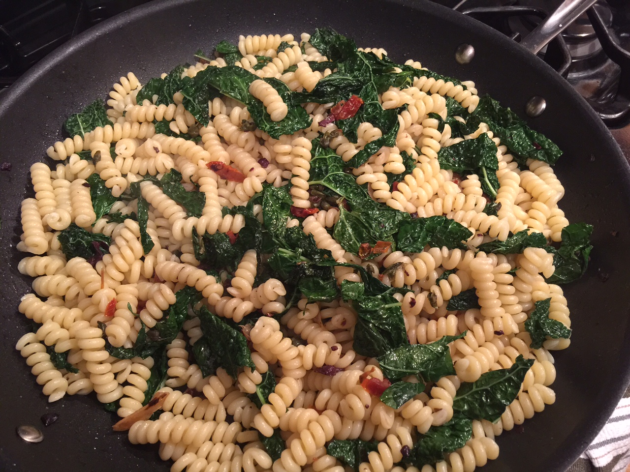 kale pasta in pan