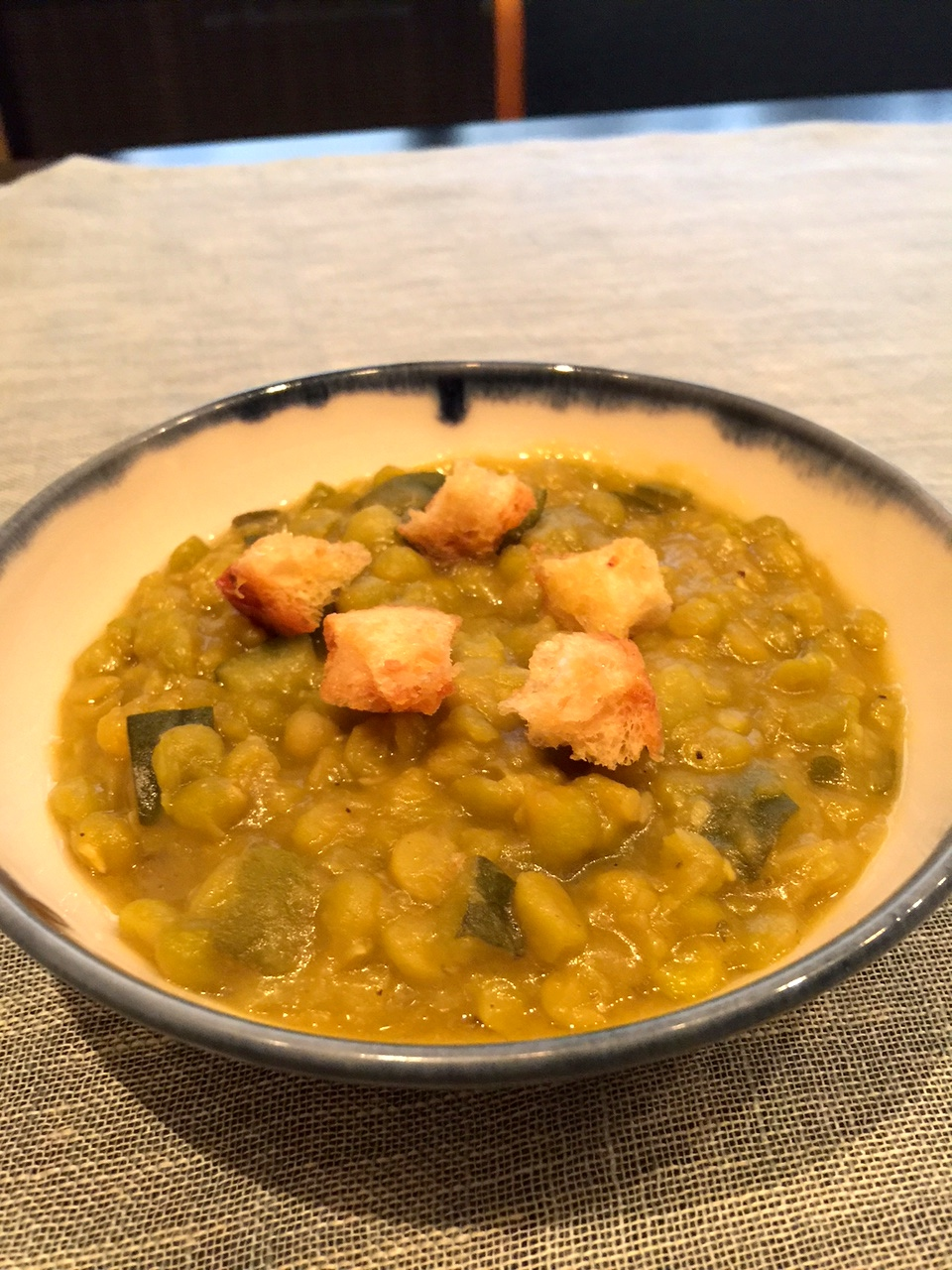 3rd plated split pea soup