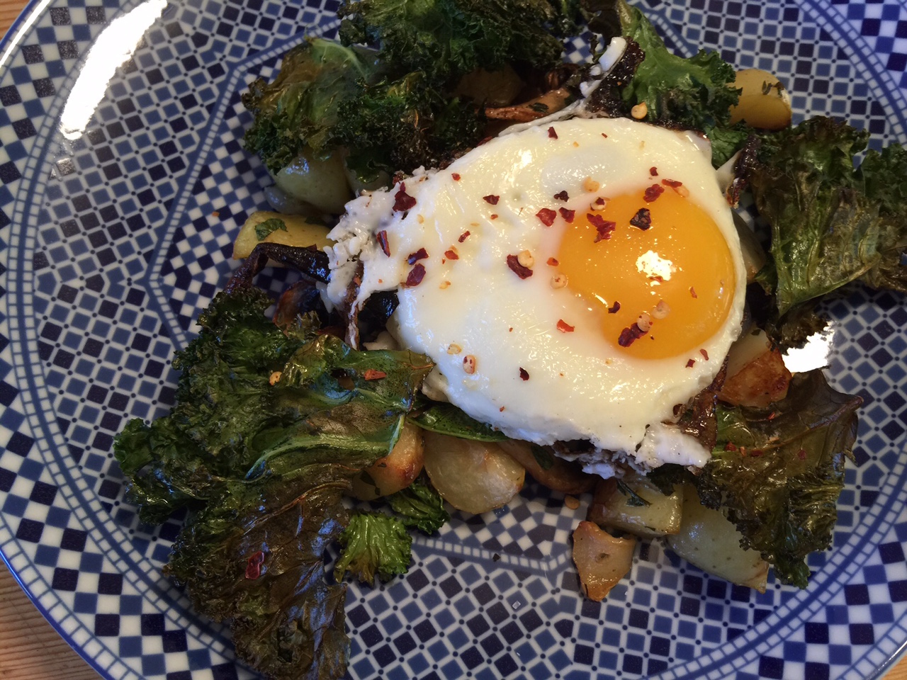 Kale potato hash plated