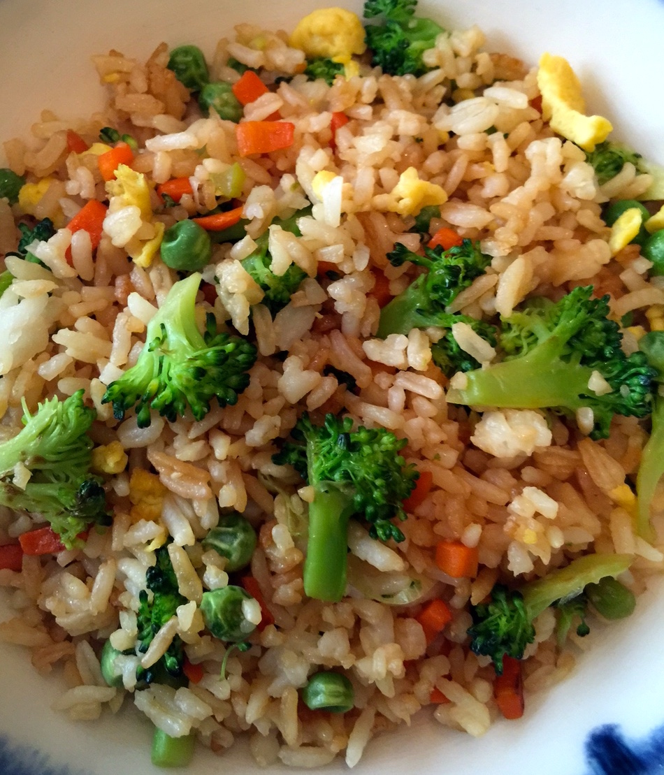 close-up plated fried rice