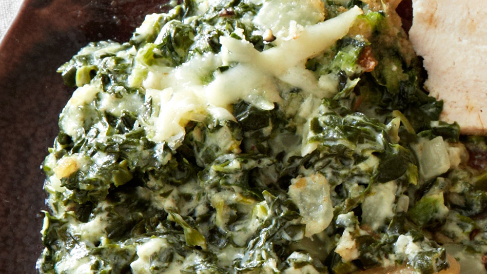 Creamed Spinach Gratin with Toasted Breadcrumbs